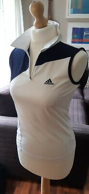 Girls White & Black Sleeveless Collared ADIDAS Tennis Sports Top Size XL - VGC • 6£