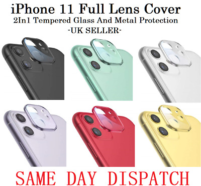 IPhone 11 Full Lens Cover 2in1 Metal Tempered Glass For Rear Camera Protector UK • 2.99£