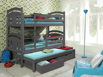 Grey Bunk Beds Triple 3 Sleeper  Detachable With Mattresses And Storage TOMMY 3 • 479£
