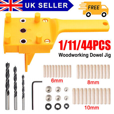 £7.99 • Buy Handheld Woodworking Guide Wood Dowel Drilling Hole Saw Doweling Jig Drill Kits