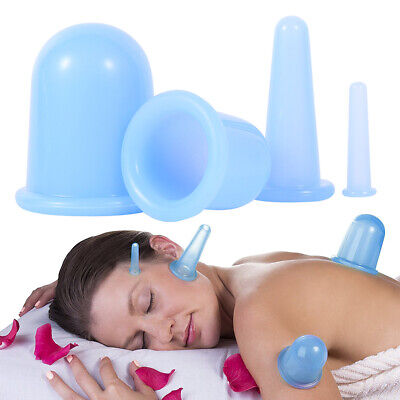 4pcs Silicone Anti Cellulite Massage Vacuum Cupping Body Facial Cups Therapy TR • 6.39£