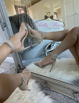 Pink Nude Rhinestone Crystal Buckle Stiletto Heels Sparkle Barely There Sandals • 14.99£