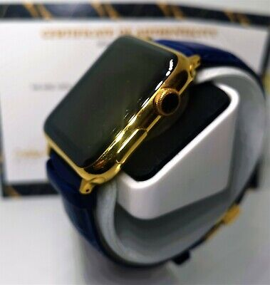 $ CDN462.72 • Buy 24ct Gold Plated 42MM Apple Watch 24ct Blue Genuine Leather Band 24K