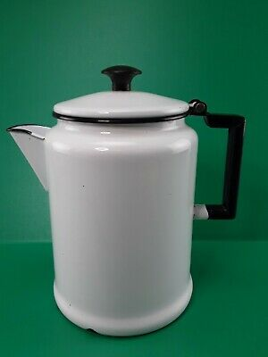 $24.50 • Buy Vintage Metal White & Black Enamel Coffee Tea Pot 3 Quart - Farmhouse, Camping