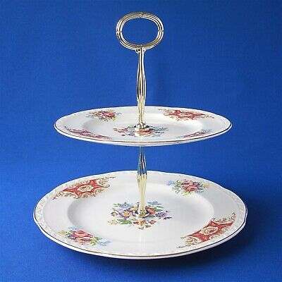 Vintage 2 Tier Floral Cup Cake Stand • 9.50£