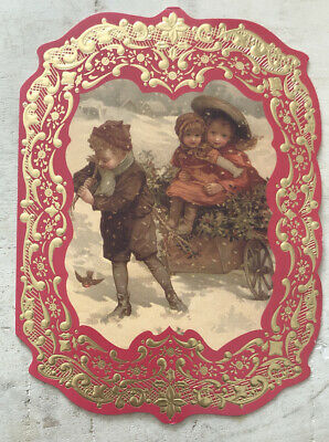 $ CDN3.60 • Buy Used Christmas Card ~ Vintage Reprint Gold And Red Boarder Kids In Wagon