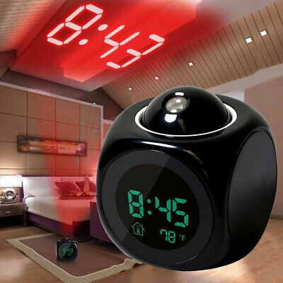 LED Digital Projection Alarm Clock Projector LCD Voice Talking Time Temperature • 9.65£