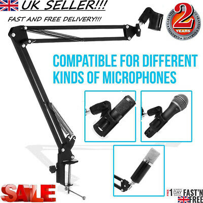 Livivo Adjustable Microphone Desktop Arm Mic Suspension Boom Scissor Stand Mount • 8.99£