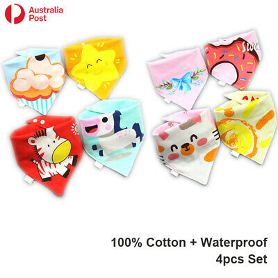 AU9.99 • Buy 4pcs Baby Bib Set 100% Cotton Waterproof Boy Girl Triangle Bandana Adjustable