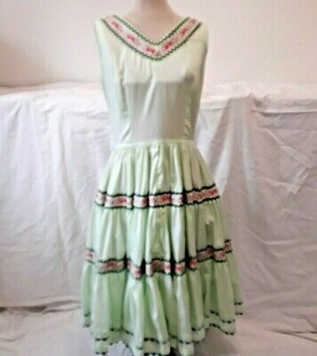 $19.95 • Buy Vintage Sleeveless Patio Square Dance Dress Tiered Mint Green Rose Floral Trim