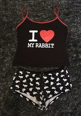 Ann Summers I Love My Rabbit Cropped Top & Hot Pants Shorts Pjs Pyjama Set 6 - 8 • 6.50£