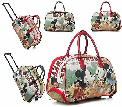 Ladies Mickey Mouse Trolley Holdall Bag Girls Minnie Mouse Hand Luggage Travel • 20.99£