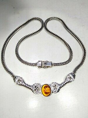 $64.99 • Buy SIGNED- Charles Winston CW  Sterling Silver 925: Amber Necklace 18.5  Long (29gr