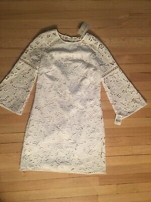 $66 • Buy NEW Women's Shoshanna Wht Poly L/S Lace Lined Dress Size 4 NWT