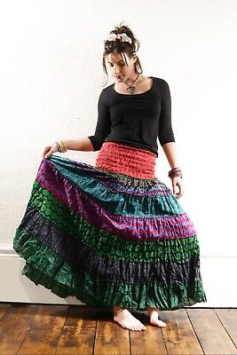 Frill MAXI SKIRT Print Patchwork Cotton Extra Long Hippy Festival Ethnic Indian • 25£