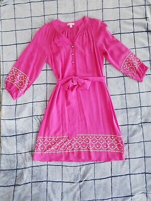 $29.90 • Buy LILLY PULITZER Elsa Bright Pink Gold Studded Women's Silk Dress Size Medium $398
