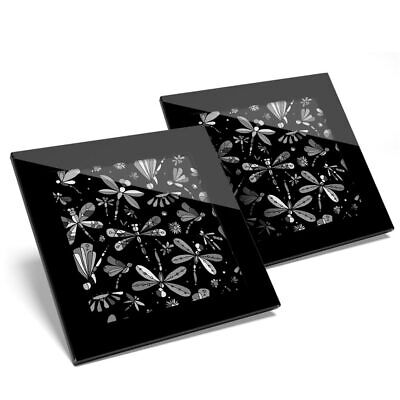 2 X Glass Coasters BW - Colorful Dragonfly Butterfly Print  #36348 • 11.99£
