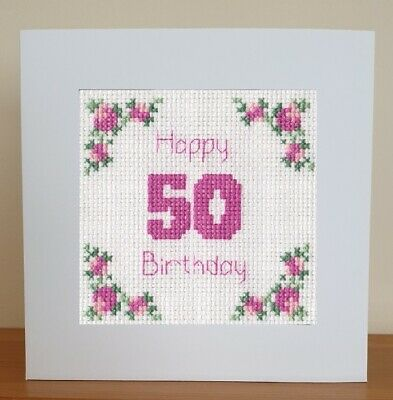 £6.95 • Buy 50th Birthday - Counted Cross Stitch Card Kit