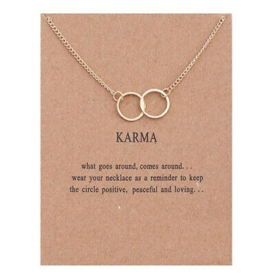 Karma Double Circle Pendant Necklace On Message Card • 3.99£