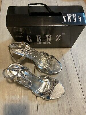 Womens Shoes Silver Heels Diamond Size 7 Gemz London • 12.99£