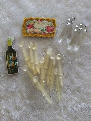 $9.99 • Buy Vintage Plastic & Glass  Acrylic Chandelier Lamp Hanging Dangle Prisms Clear Lot