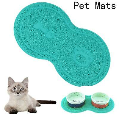 Pet Dog Puppy Cat Feeding Mat Pad Cute PVC Bed Dish Bowl Food Feed Placemat Blue • 2.59£