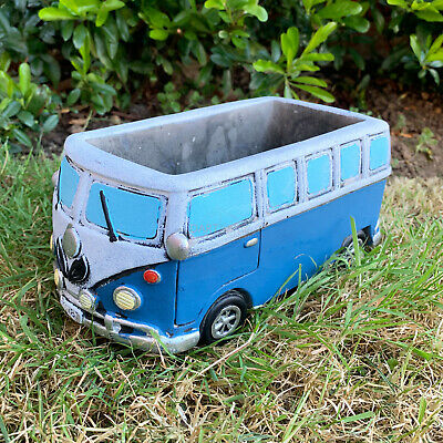 Blue VW Campervan Cement Home Garden Plant Flower Seed Herb Pot Planter Gift New • 13.99£