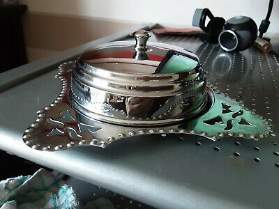 Vintage Silver Plated Lidded Butter Dish Jam Dish Glass Insert • 6£