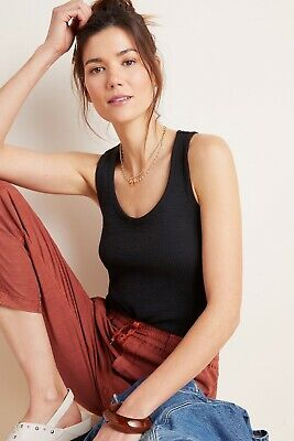 $ CDN34.01 • Buy Anthropologie NWT  Sera Scoop Neck Tank Top Size M Runs Large $38 Black
