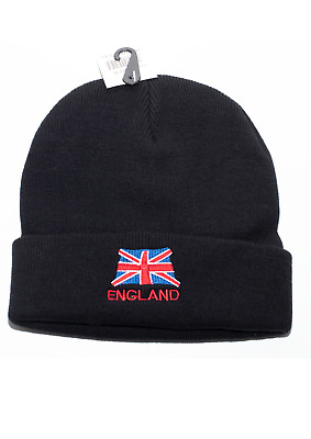 ENGLAND UNION JACK Embroidery Knitted Woolly Souvenir Winter Quality Beanies • 4.99£