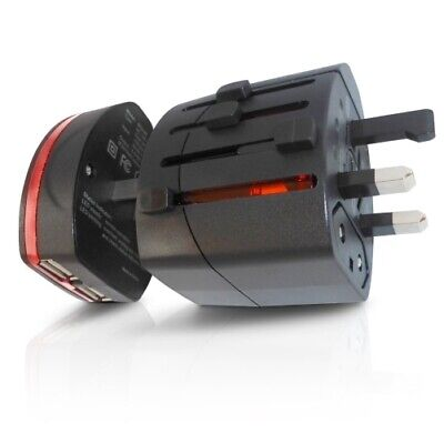 World Travel Adapter 2 With Dual USB Charger. Swiss Designed For Safety And Qual • 12.48£