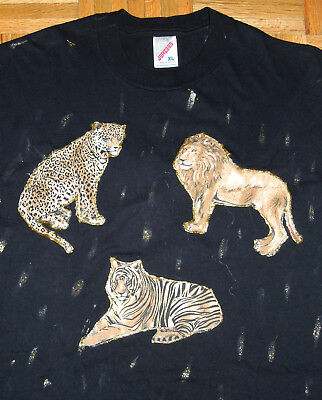 $ CDN68.02 • Buy T Shirt Vintage 90s HAND PAINTED Abstract Lions Tigers Black JERZEES USA Made XL