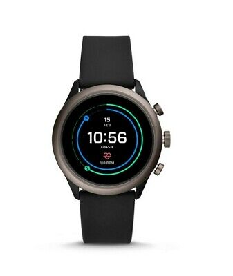 AU110.94 • Buy Fossil Sport Touchscreen Heart Rate Black Silicone SmartWatch 43mm FTW4019