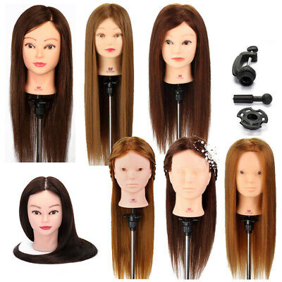 30%-100% Real Hair Training Head Hairdressing Styling Mannequin Doll & Clamp UK • 18.99£