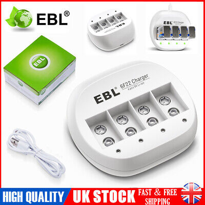 EBL 4 Slots USB Smart Battery Charger For 9V 9 Volt Li-ion Rechargeable Battery • 7.99£