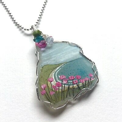 Pink Thrift Summer Beach Hand Painted English Sea Glass Necklace - 18  Chain • 14.95£