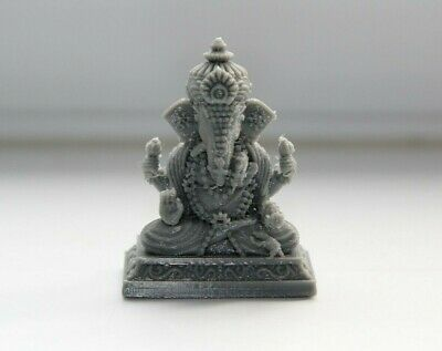 Lord Ganesha Ganpati Ganesh Ji Small 3D Printed Statue Grey Car Dashboard Etc • 6.99£