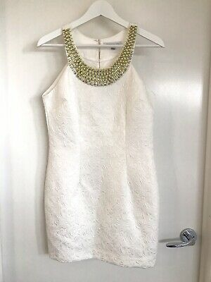 AU38 • Buy Forever New 12 Off White Halter Short Dress Yellow Beaded Fabric Buttons Thick