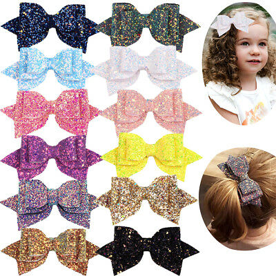 $11.99 • Buy 12Lot Girls 5 Inch Large Big Bling Sparkly Sequin Glitter Hair Bows With Clips