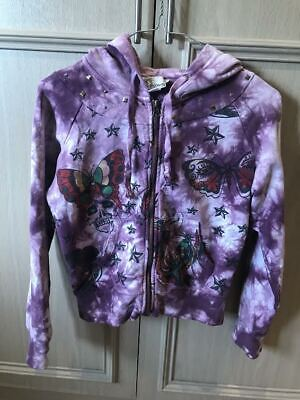Ed Hardy Pink Tie-Dye Patterned Butterfly Jumper Womens Size XS • 17£