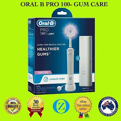 AU63.90 • Buy Oral-B Pro 100 Rechargeable Electric Toothbrush With Travel Case Gum Care Power