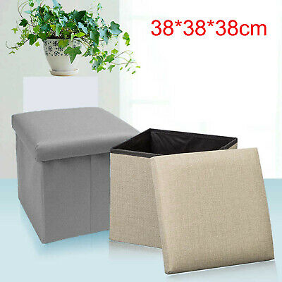 38x38x38cm Folding Stool Seat Storage Space Box Chair Cube Footstool Pouf Bench • 9.39£