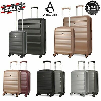 Aerolite Hard Shell Small Large Carry On Cabin Hand / Hold Luggage Suitcase Sets • 23.99£