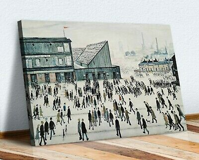 LS Lowry Going To The Match CANVAS WALL ART PICTURE FRAMED PRINT PAINTING • 12.99£