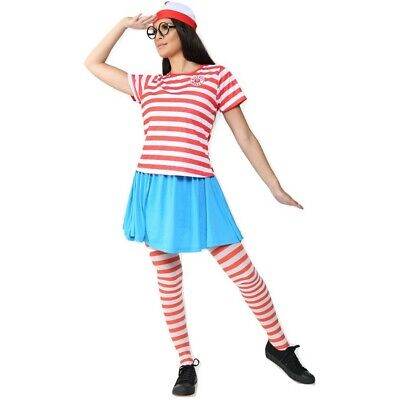 £7.99 • Buy Womens Official Wheres Wally Wenda Costume Fancy Dress Hat Party Outfit Adult