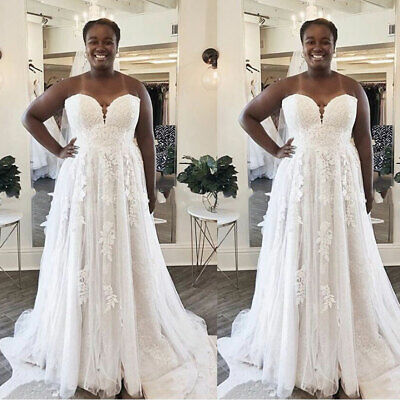 $ CDN164.52 • Buy Plus Size Strapless Wedding Dresses Lace Tulle Sweetheart Bridal Gowns Custom