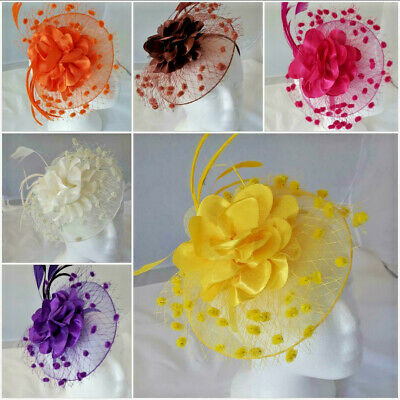 Satin Flower Feather Hat Fascinator Clip,Headband Wedding Royal Ascot - UK POST • 6.99£