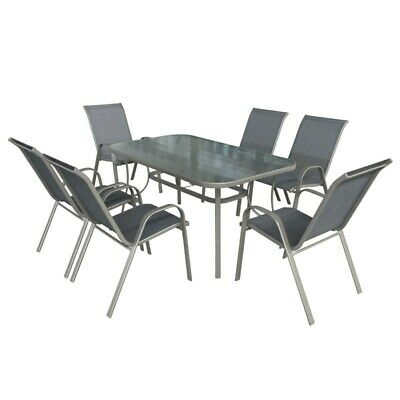 AU198 • Buy NEW Stratco Saver Manhattan 7 Piece Steel Dining Setting Outdoor Table & Chairs
