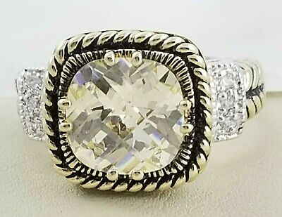 $ CDN54.21 • Buy Lia Sophia Lemon Chiffon Ring Size 8 Gold Silver Two Tone CZ Yellow Cushion $98