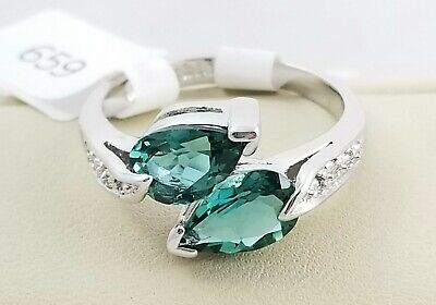 $ CDN23.37 • Buy Lia Sophia  Hazel  2 Green Teardrops Cz Ring - Size 8 - 2008/$78
